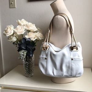 Beautiful white and gold leather purse